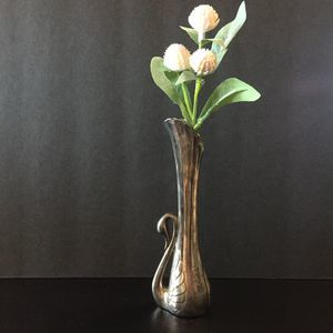 Vintage Art Deco Silver Plate Swan Vase